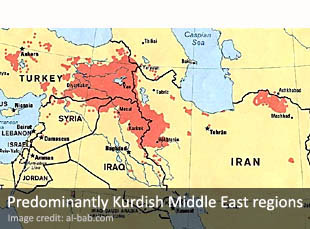 Predomiantly Kurdish Middle East regions