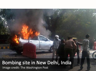 Bomb blast site in New Delhi, India