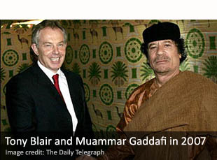 Tony Blair and Muammar Gaddafi in 2007