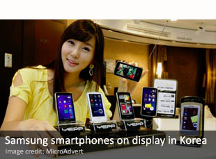 Samsung smartphones on display in Korea