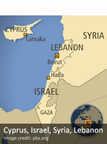 Cyprus, Israel, Syria, Lebanon