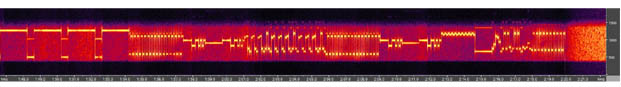 Spectral Image of 'Radiogramma' transmission as received by Russian illegals and German spy ring