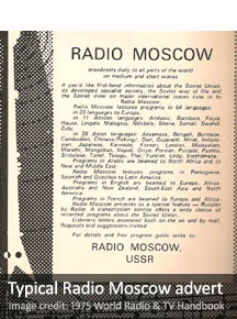 Typical Cold-War-era advert of Radio Moscow