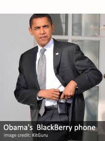 US President Barack Obama and his BlackBerry phone