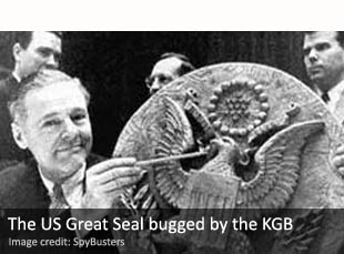 US Ambassador Henry Cabot Lodge, Jr., displays the Soviet KGB's Great Seal bug at the United Nations