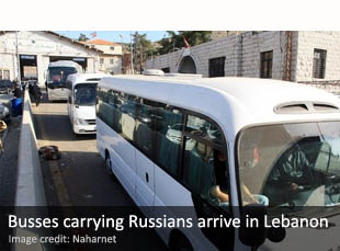 Busses carrying Russians arrive in Lebanon