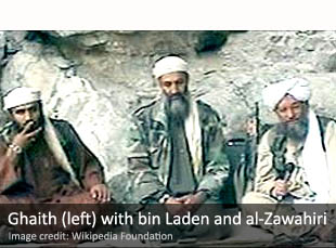 Ghaith (left) with bin Laden and al-Zawahiri