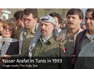 Yasser Arafat in Tunis in 1993