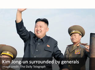Kim Jong-un surrounded by generals