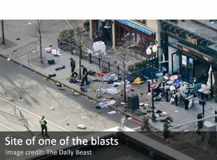 Site of one of the Boston Marathon blasts