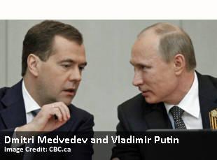 Dmitri Medvedev and Vladimir Putin