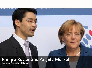 Philipp Rösler and Angela Merkel