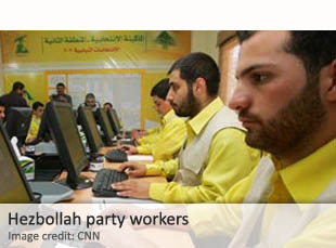 Hezbollah party workers
