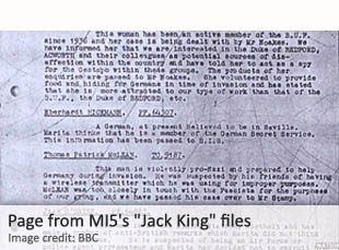 Page from MI5's Jack King files