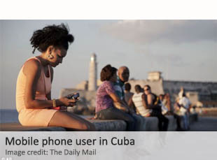 Cell phone user in Cuba