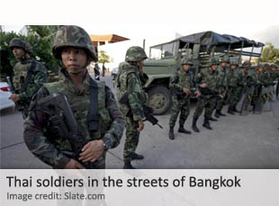 Thai troops in the streets of Bangkok