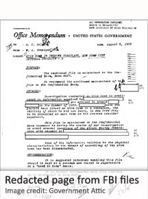 Redacted page from FBI files