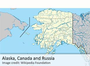 Russia, Alaska, Canada