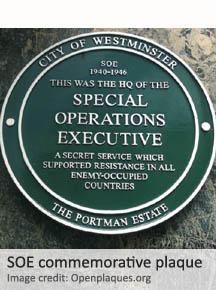 Special Operations Executive plaque