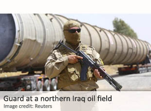 Guard at a northern Iraq oil field