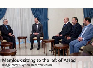 Bashar al-Assad (center) and Ali Mamlouk to his left