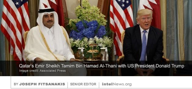 Qatar's Emir Sheikh Tamim Bin Hamad Al-Thani with US President Donald Trump
